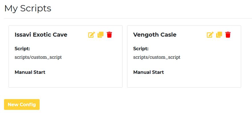 List of all script configurations